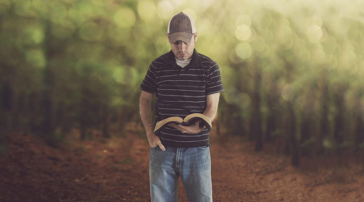 A Man Studies His Bible in a Forest