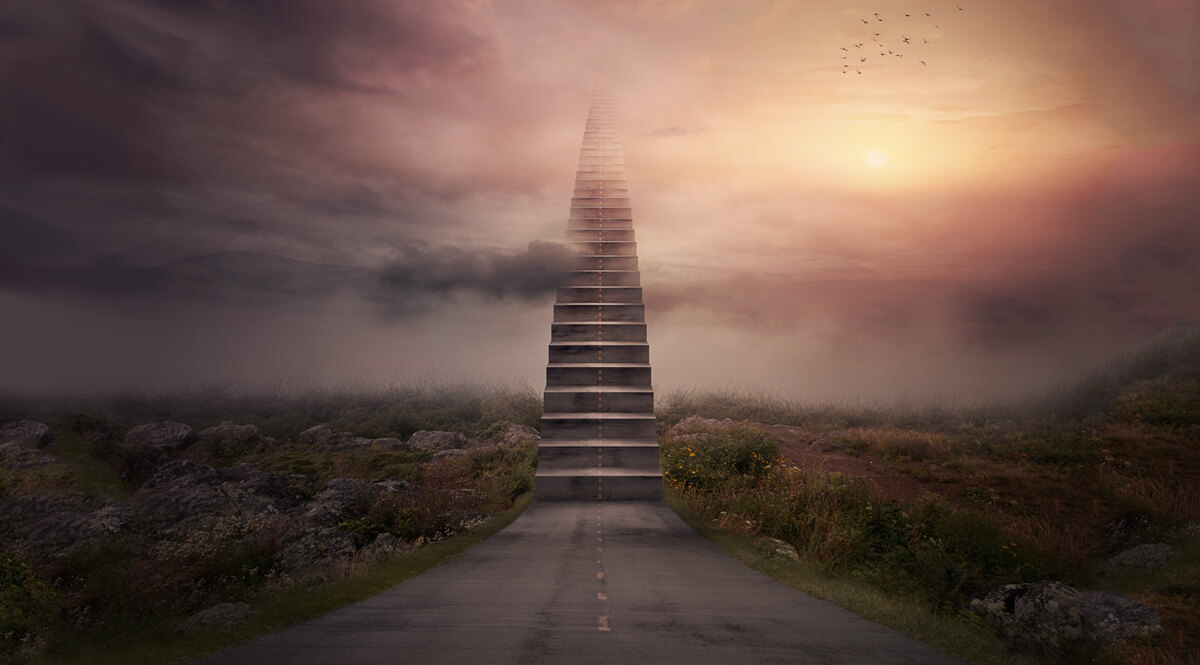A Road Turns Into a Staircase Up to the Clouds