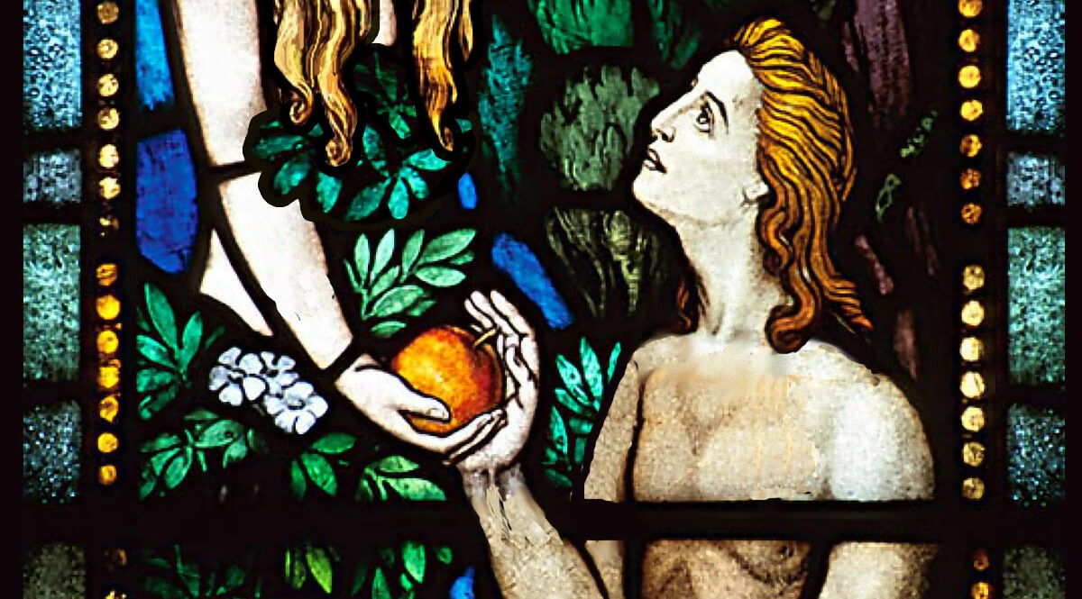 Adam, Eve, and the Forbidden Fruit - Stained Glass Window