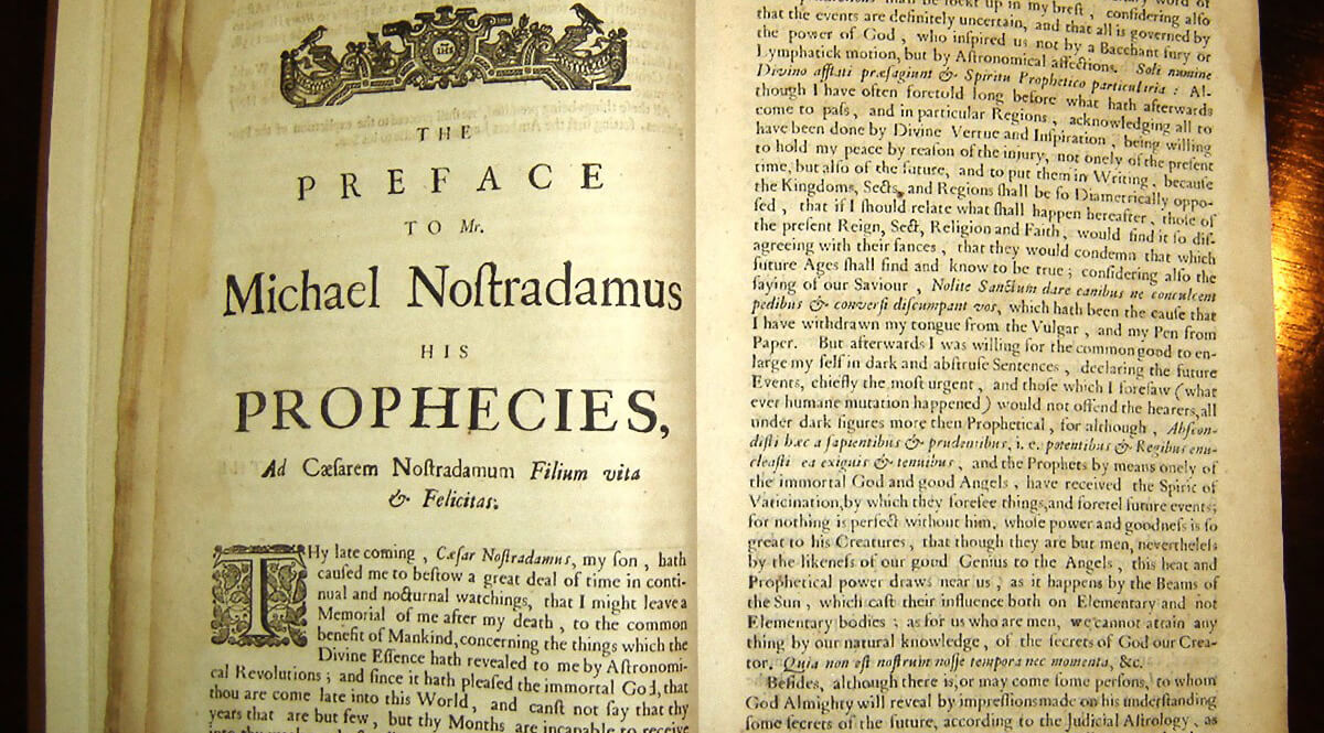 Copy of Garencières' 1672 English translation of the Prophecies of Nostradamus