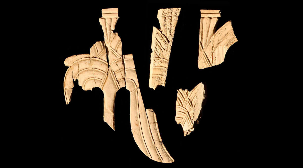 Fragments of Carved Ivory Palm Trees