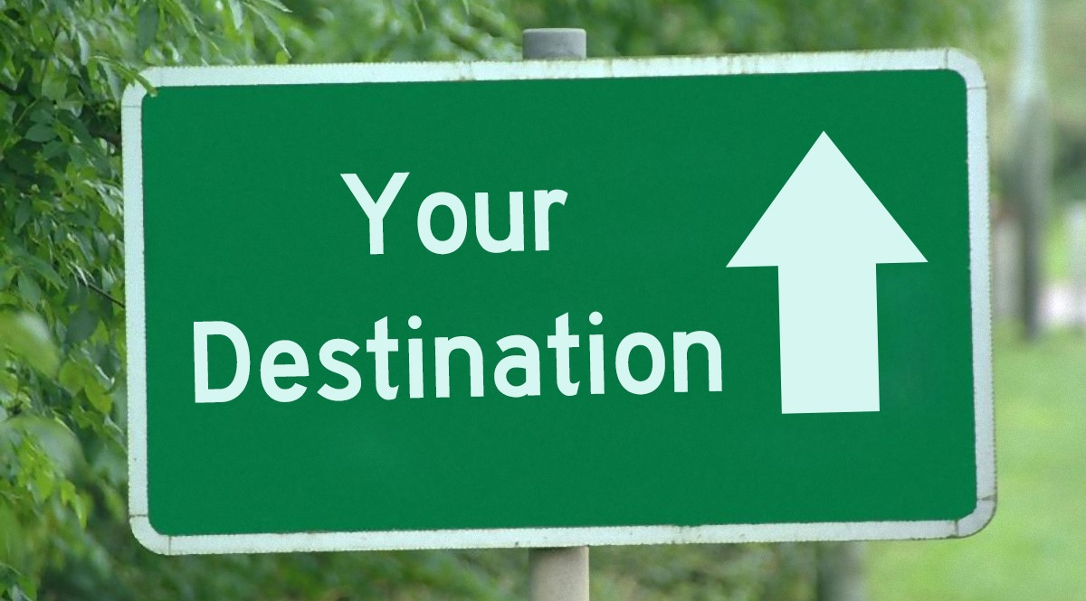 Green Road Sign - Your Destination