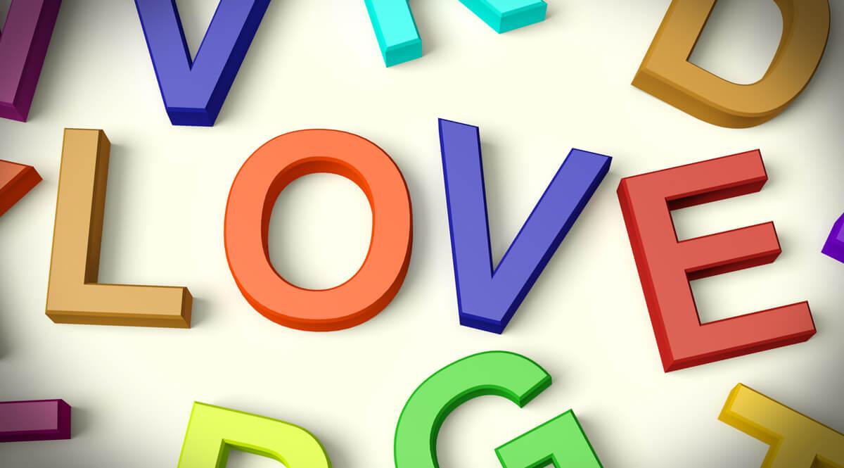 Love Written in Plastic Kids Letters