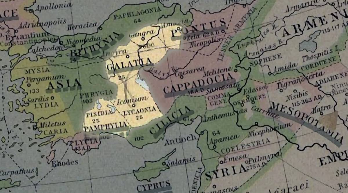 Map of Galatia in Ancient Anatolia
