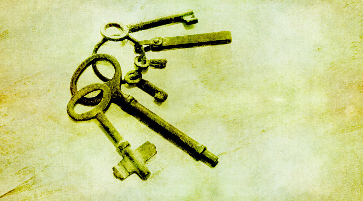 Old Keys on a Grunge Background