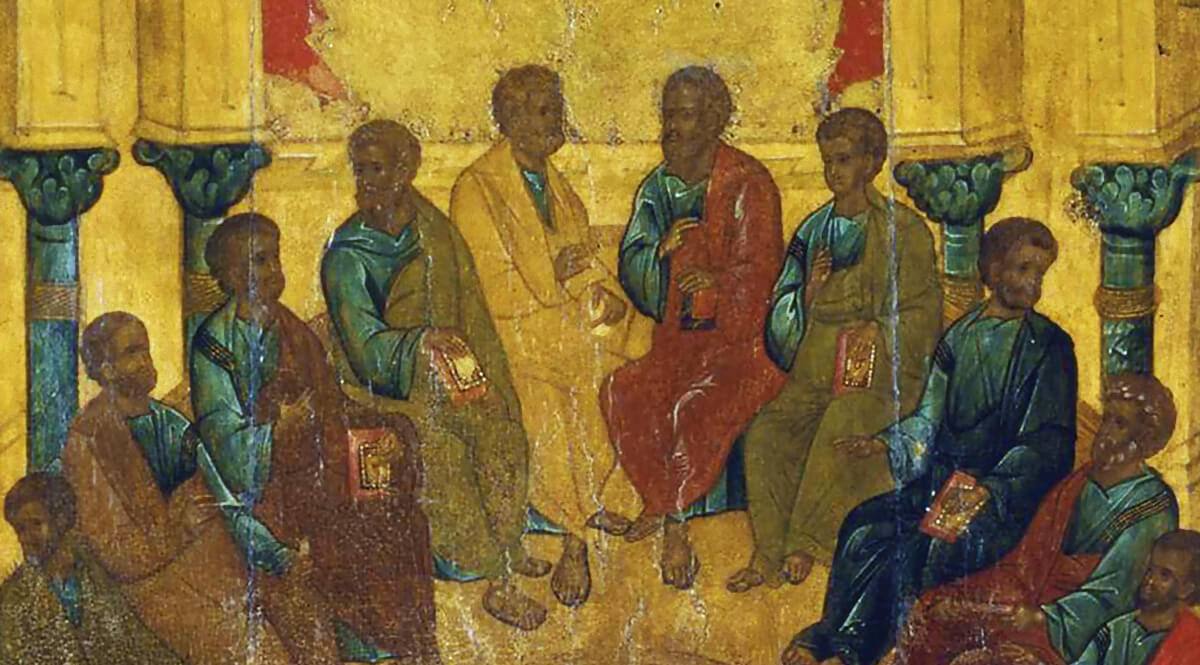Orthodox Icon of a Gathering of Apostles