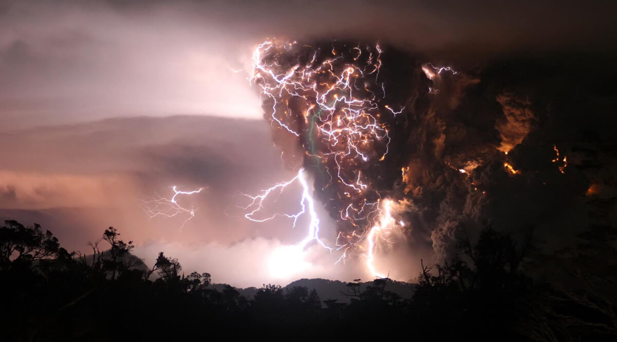 Roiling Thundercloud Filled with Lightning
