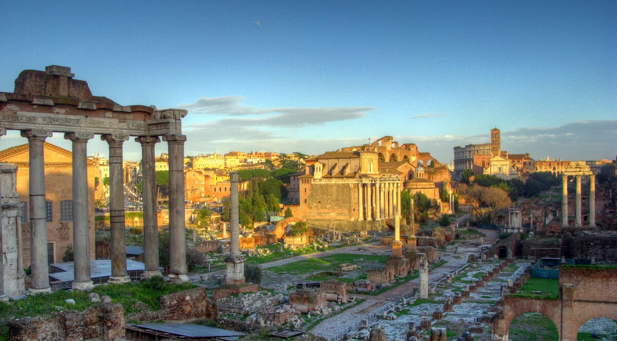 Roman Forum and Colosseum at Dusk