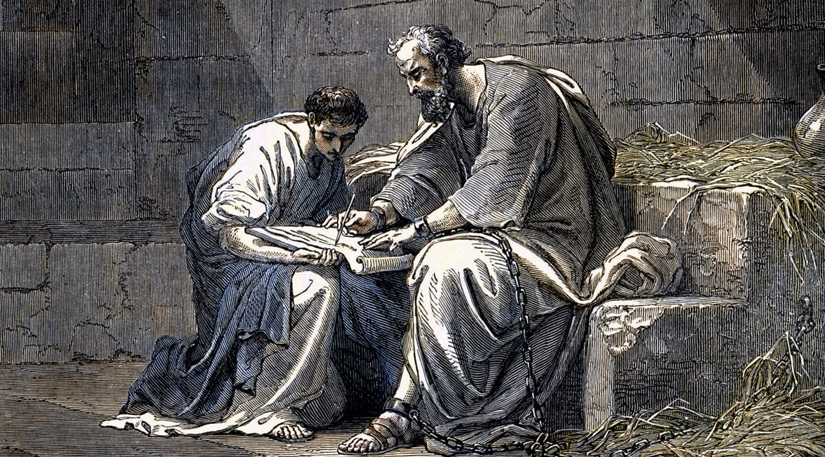 Saint Paul the Apostle in Prison Writing His Epistle to the Ephesians