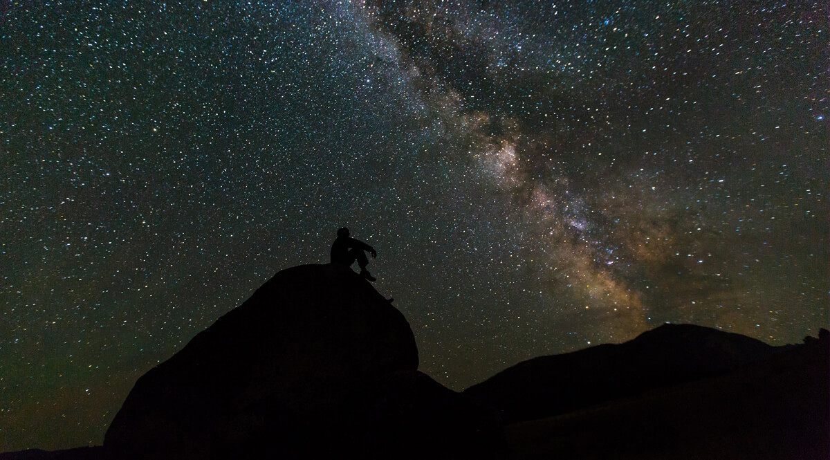 Silhouette on Rocks with the Milky Way