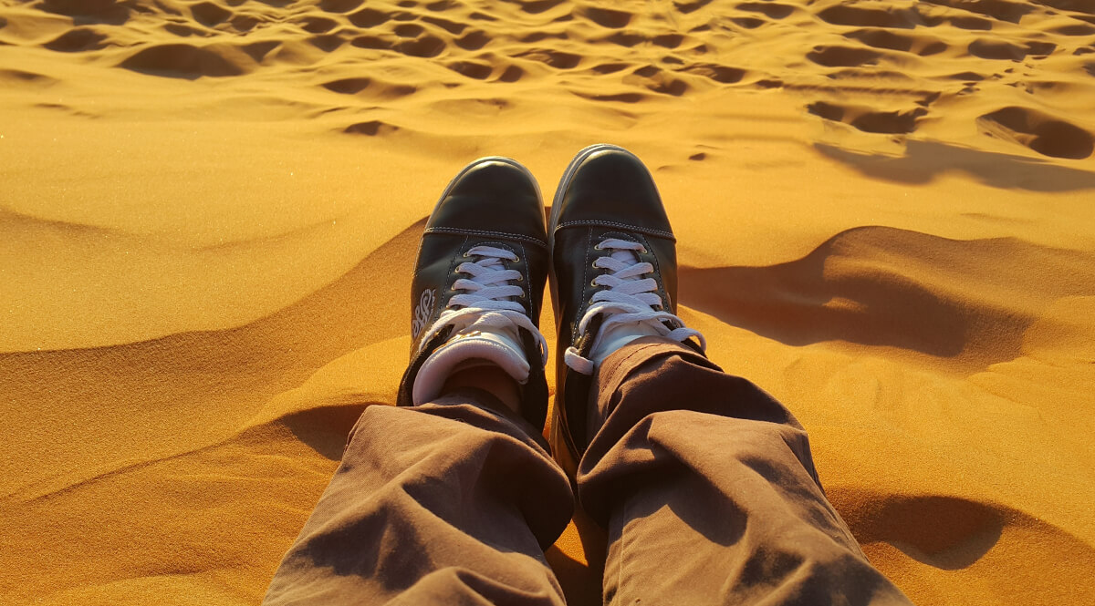 Sitting on the Sands of Merzouga, Morocco