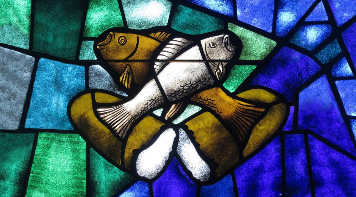 Stained Glass - Loaves and Fish - Saint James the Greater Catholic Church, Concord, North Carolina