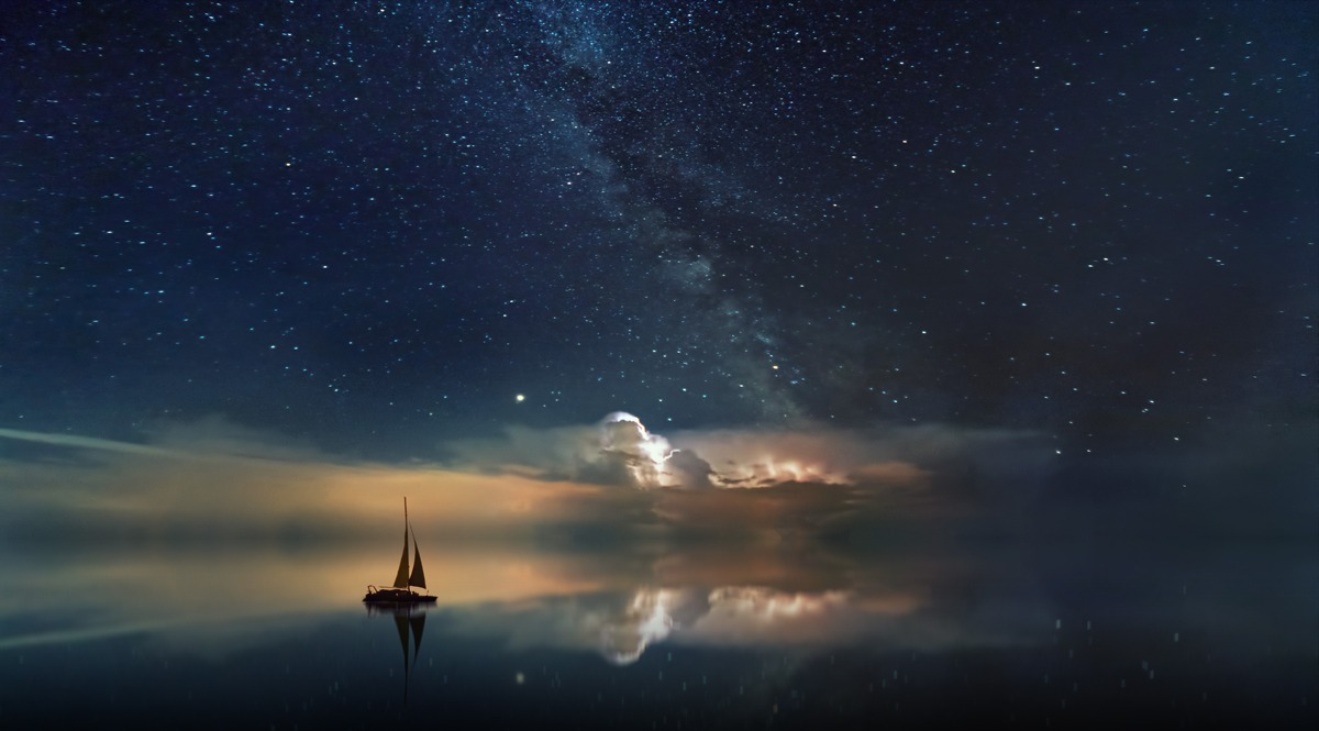 Starry Sky Over the Ocean