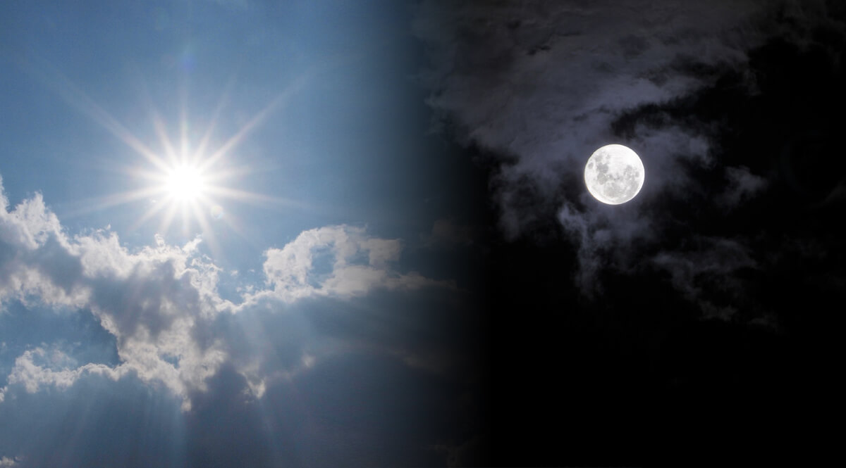 Sun and Moon in Sky