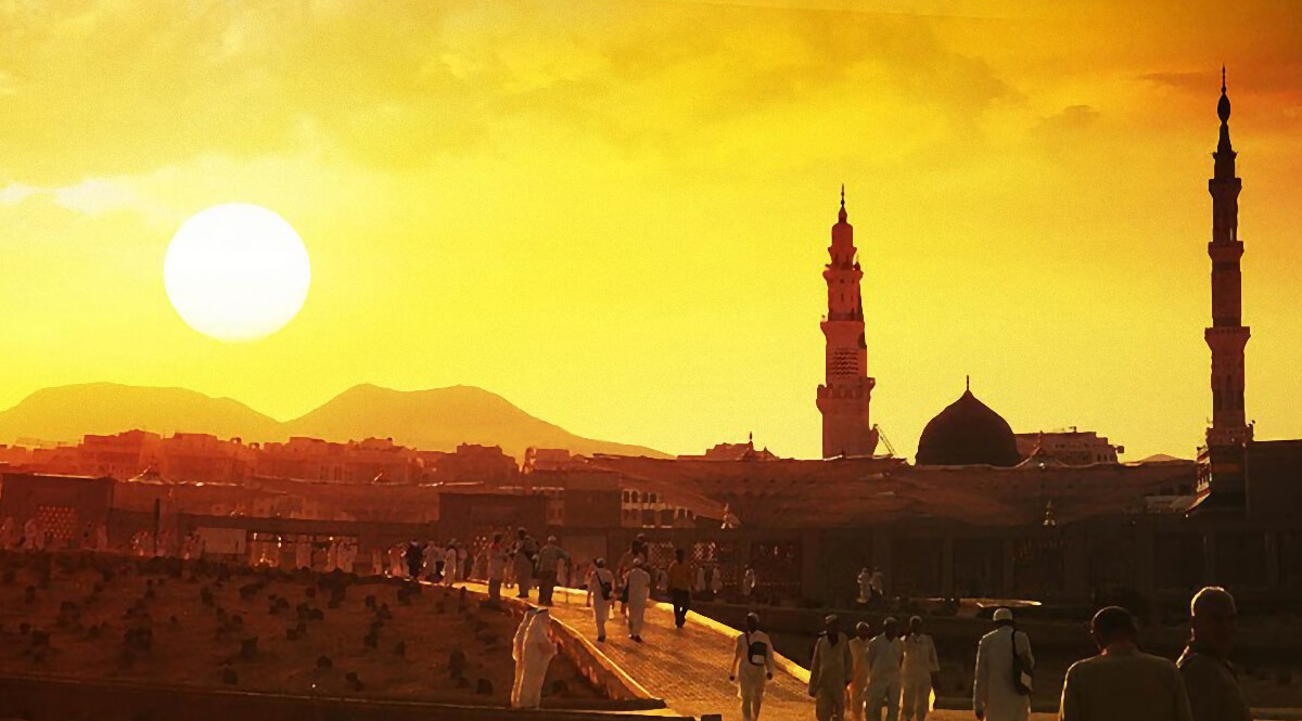 Sunset Over Medina, the Prophet's Mosque, and the Garden of the Baqi