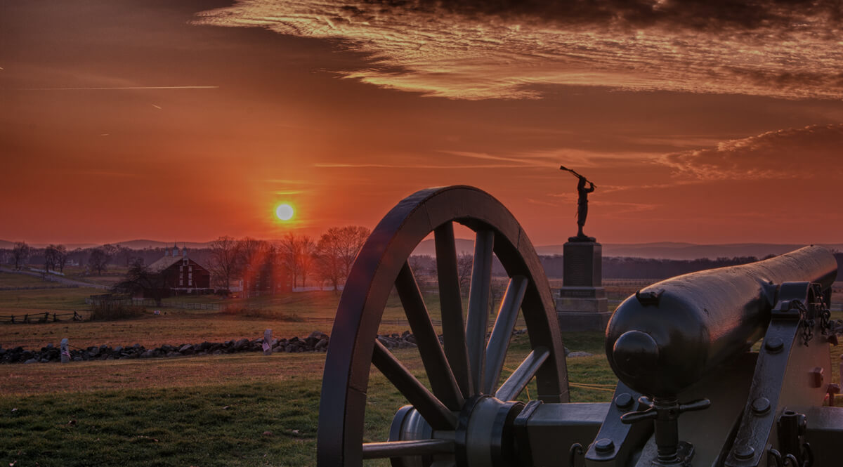 Sunset at Gettysburg - View from Cushing's Battery