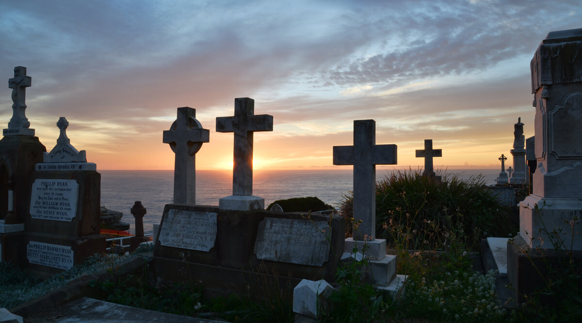 Sunset in a Graveyard Overlooking the Sea