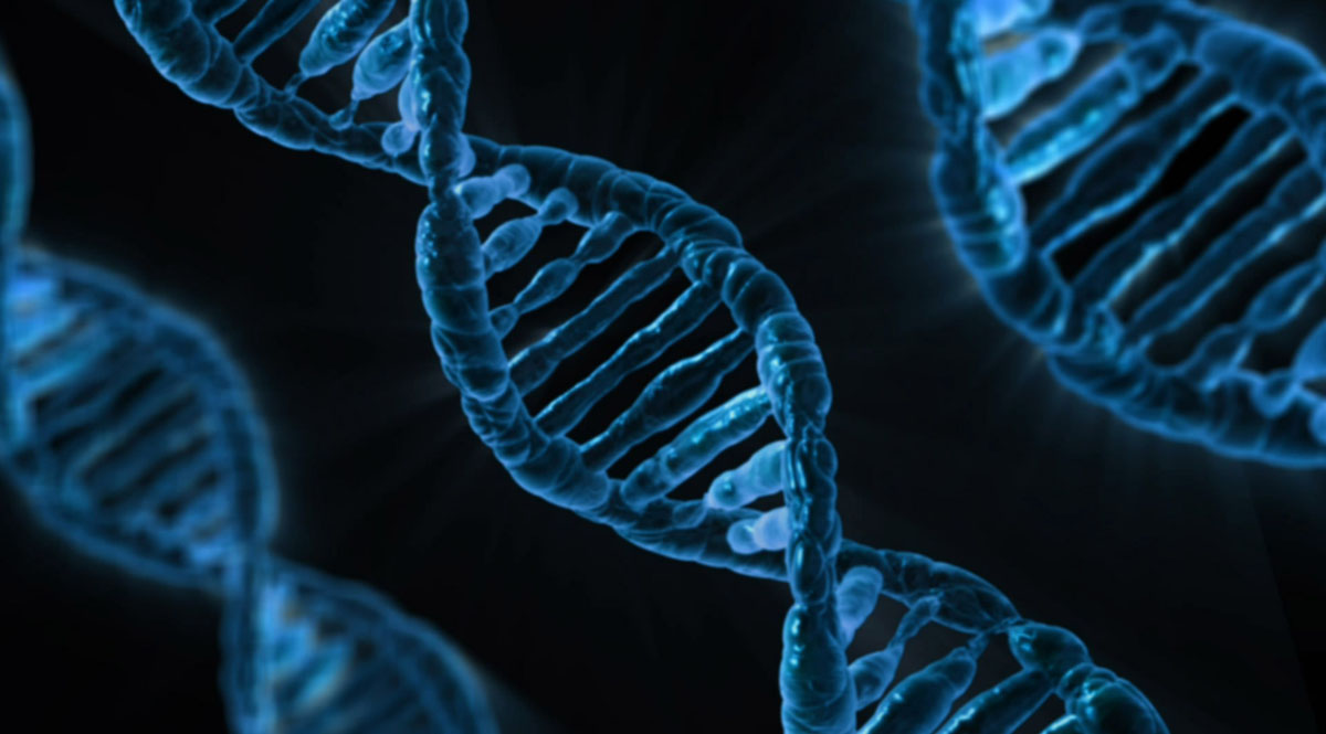 Three Blue Double Helices of DNA on a Black Background