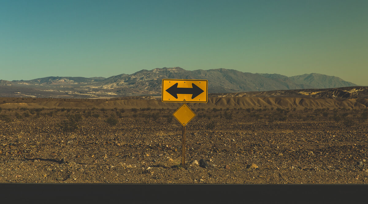 Two Directions Warning Sign - Death Valley National Park, Furnace Creek, California