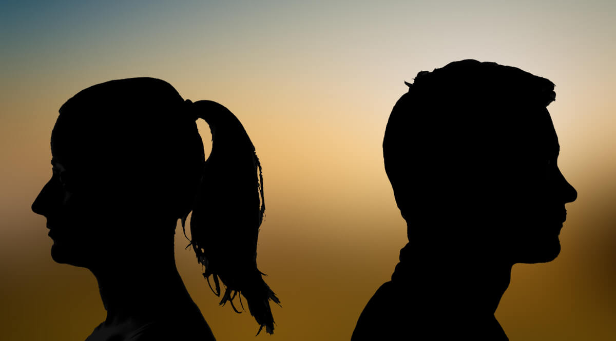 Two Silhouettes with Backs Turned to Each Other