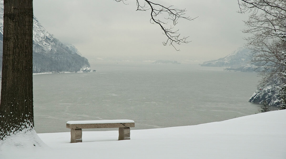 View of the Hudson River in Winter - West Point
