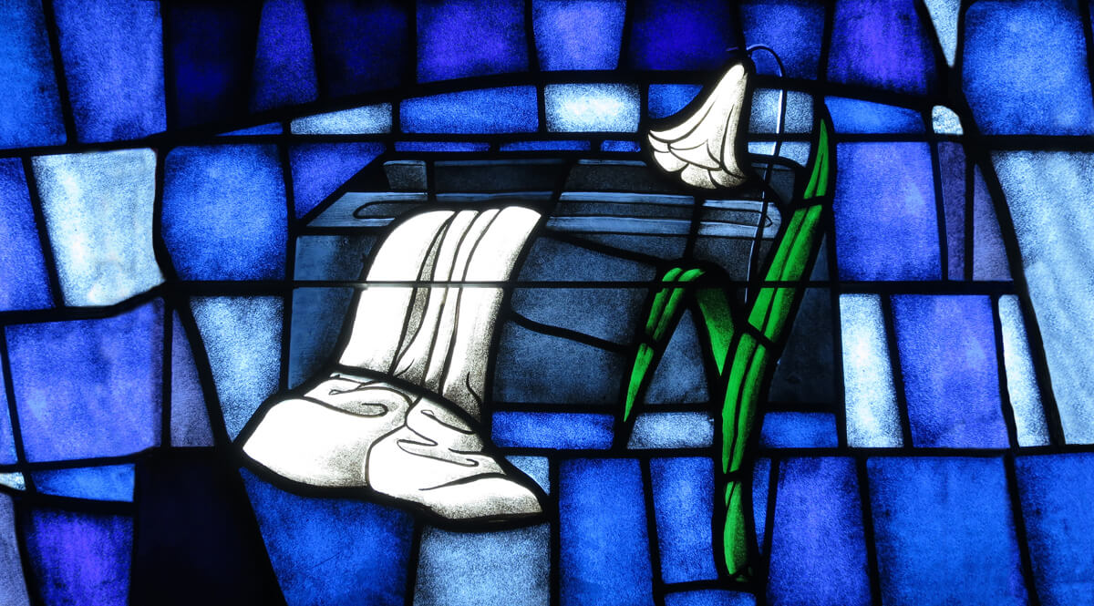 Stained Glass – An Empty Tomb – Saint James the Greater Catholic Church, Concord, North Carolina