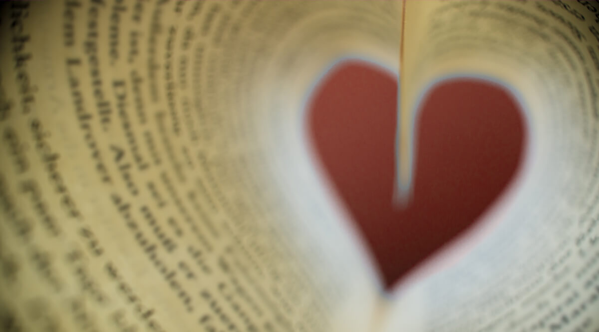View Through Curled Pages, Forming a Heart